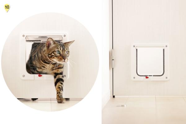 猫の通路として活用できるペットドアはロックも可能